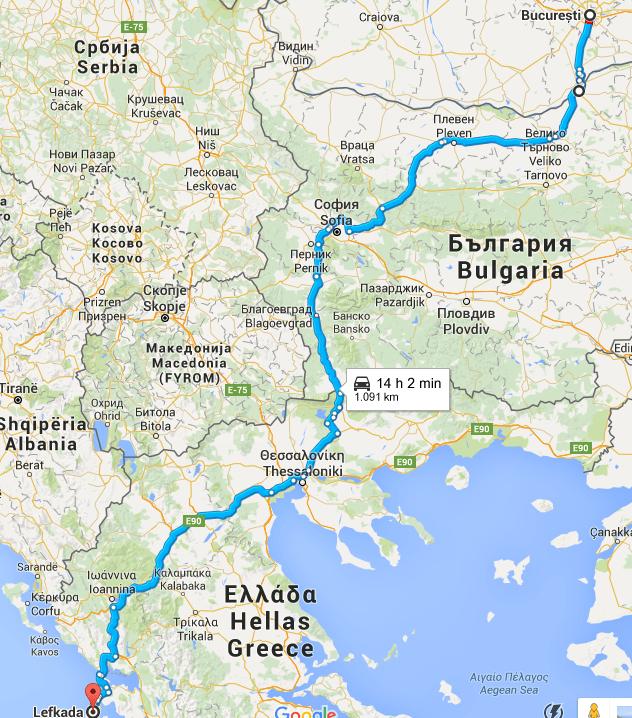Traseu auto Bucuresti - Lefkada